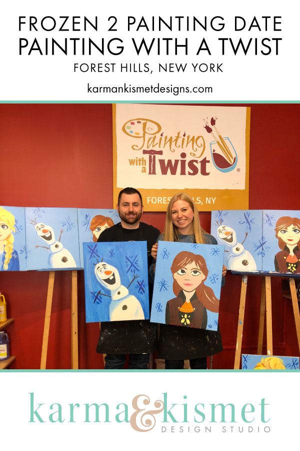 Disney date day! Frozen 2 painting experience at Painting with a Twist in Forest Hills, NY