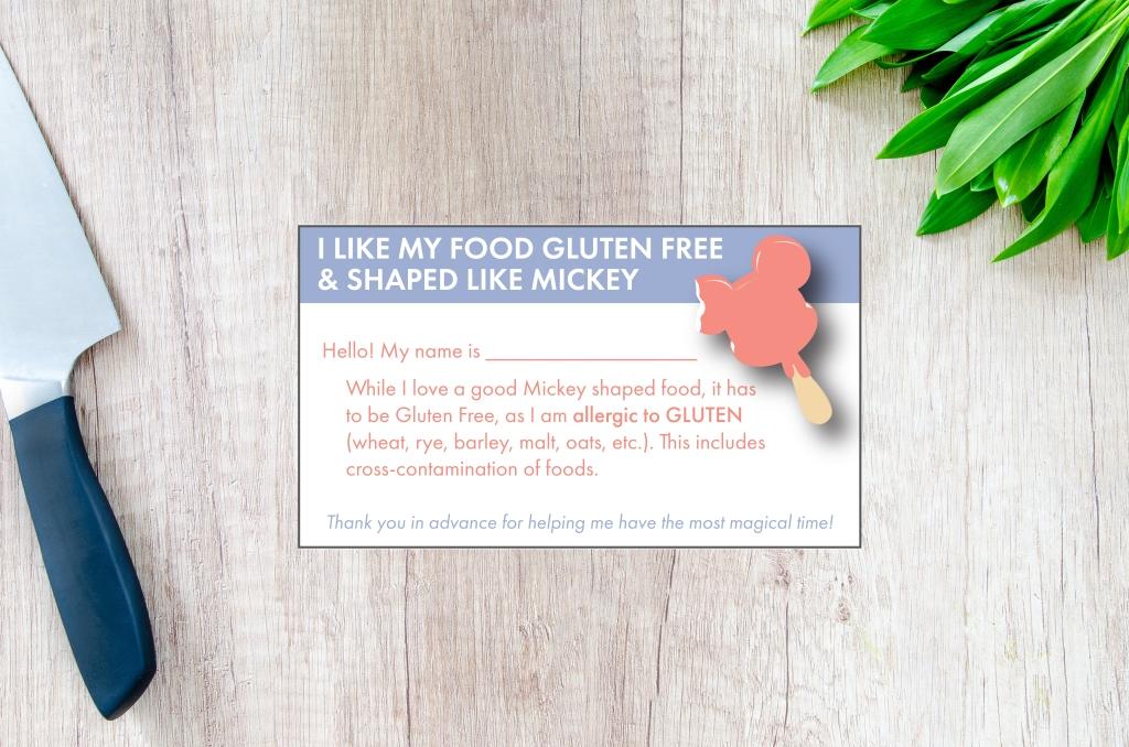Gluten free Disney Restaurant Card download - printable