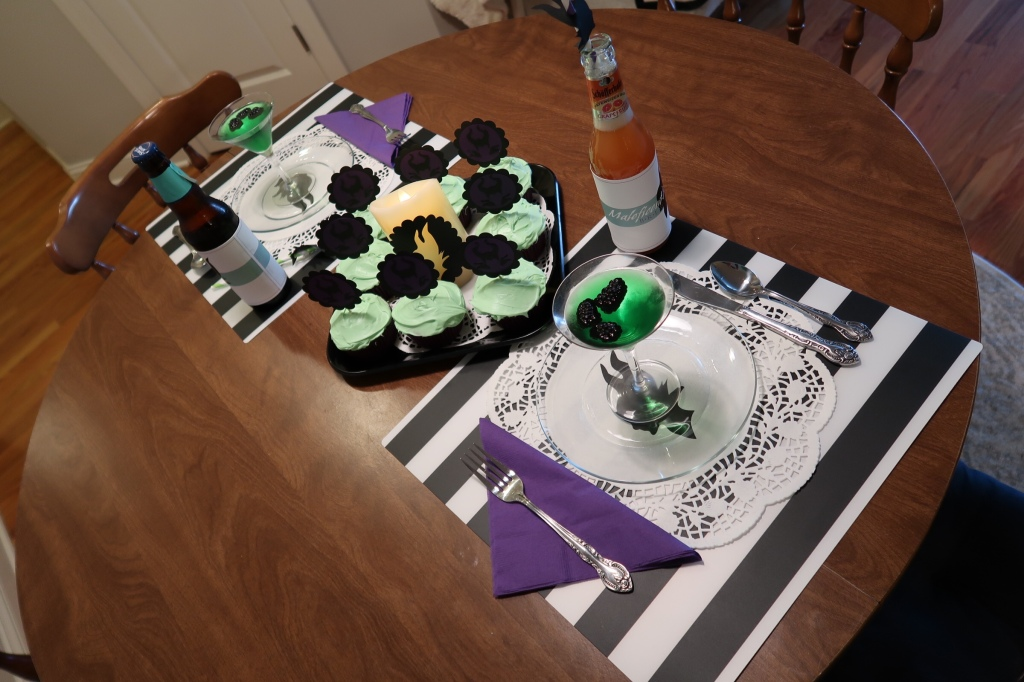 Table setting for a Maleficent themed party